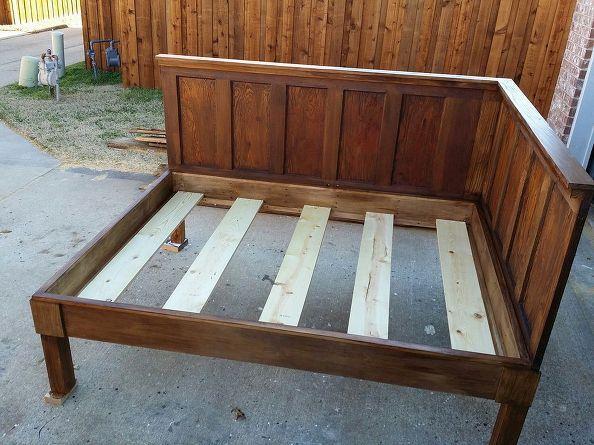 Corner Queen Size Bed Using 2 Old 5 Panel Doors Vintage