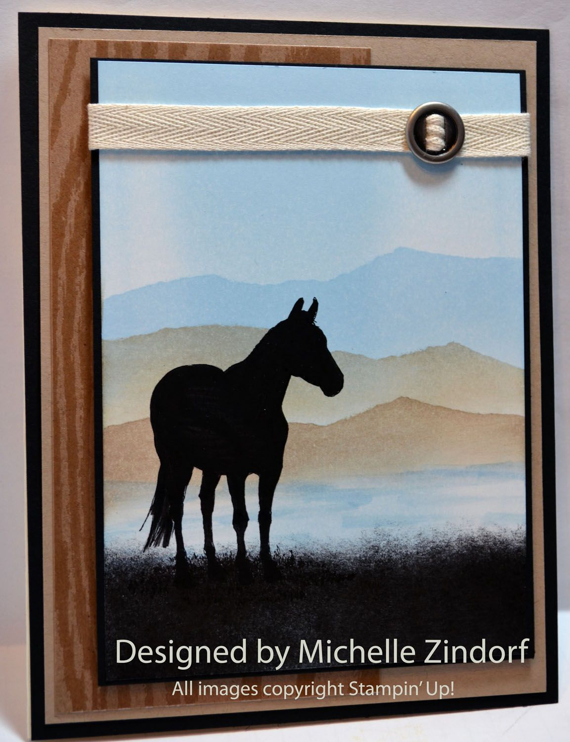 handmade card ... Horse Silhouette scene ... Stampin' Up! Card Tutorial #584 ... luv the sponged background with layers of hills ... Stampin' Up!