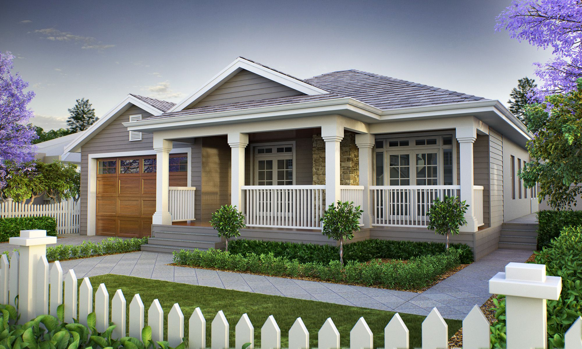 The long island with hampton style frontage narrow lot for Country cottage homes designs australia