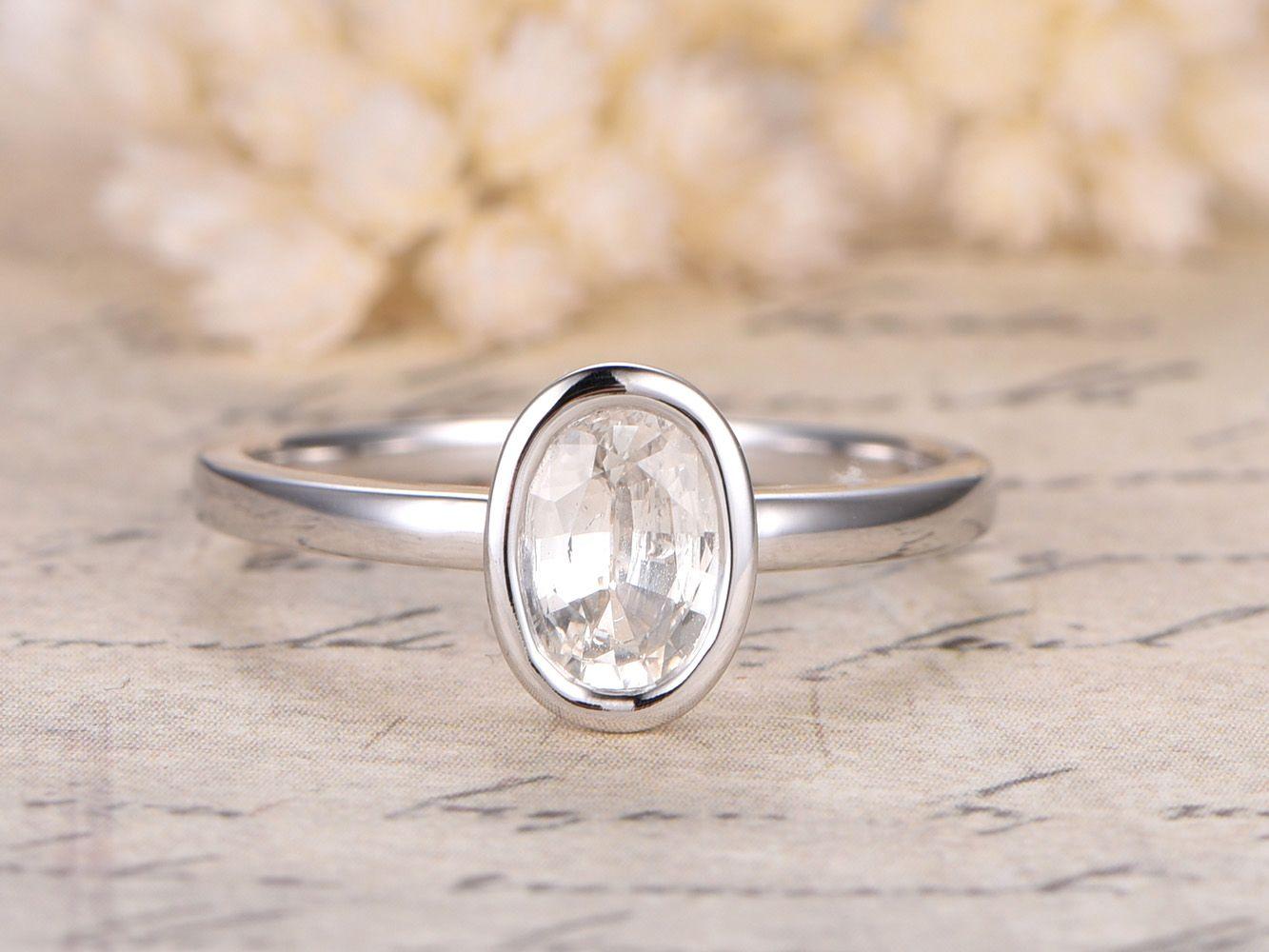 white sapphire wedding rings White Sapphire Ring mm Oval Cut Stone 14K Plain White Gold Sapphire Bezel