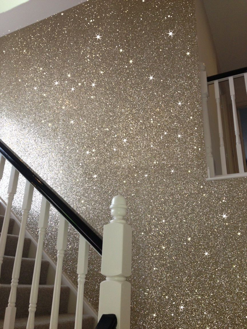 Sand Color Glitter Wallcovering On Stairway Sparkling And Stunning Glitter Wallpaper Bedroom Glitter Wall Gold Glitter Paint Walls