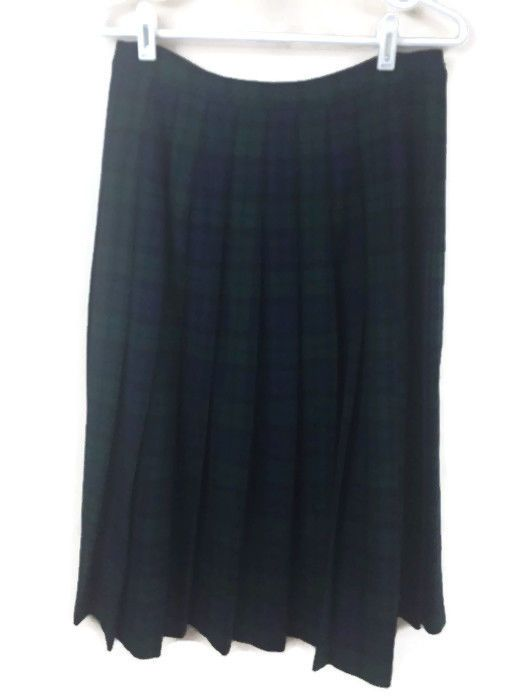 Pendleton Sz 12 Petite Black Watch Tartan Plaid 100% Wool Unlined Pleated Skirt  #Pendleton #Pleated