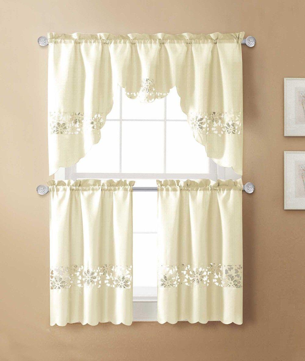 Tullah Emb Kitchen Curtain Beige 60x36 Kitchen Curtains Curtains Curtains Walmart
