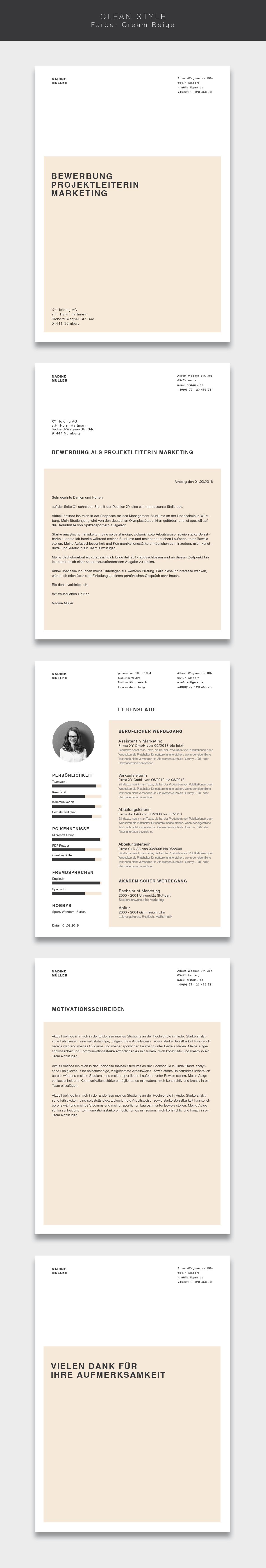 Unsere Bewerbungsvorlage Cvtemplate Clean Style In Der Farbe