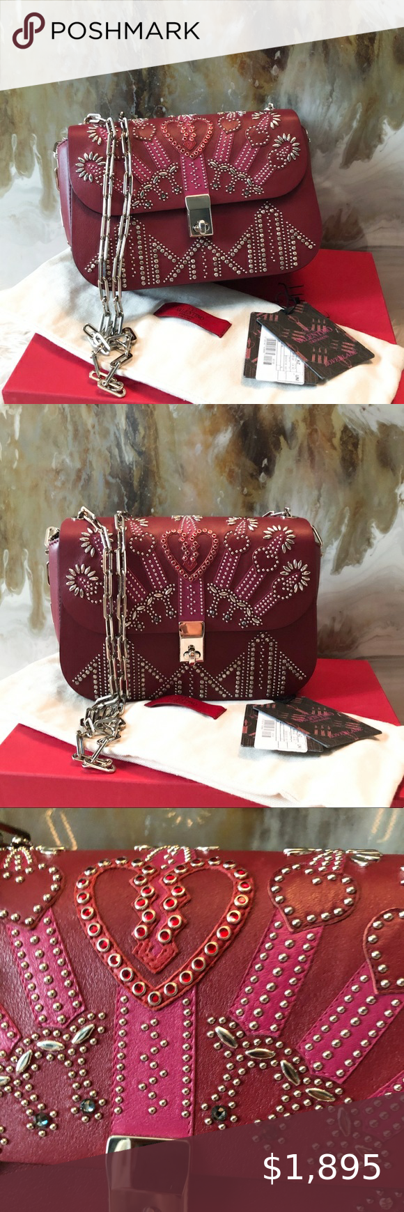 Valentino Love Blade Maroon Crystal Studded Bag In 2020