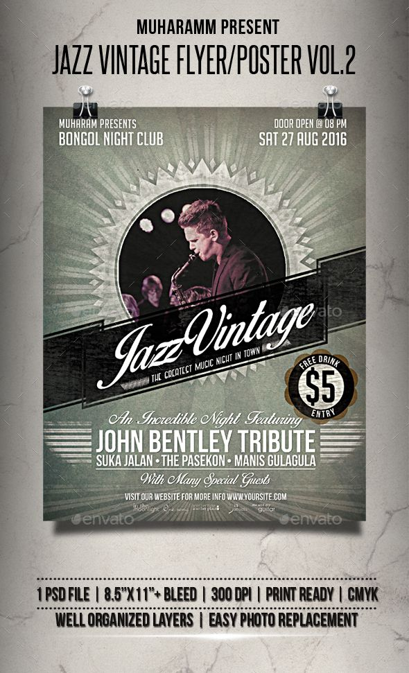 Jazz Vintage Flyer Poster Vol2 Pinterest Flyer Template Jazz