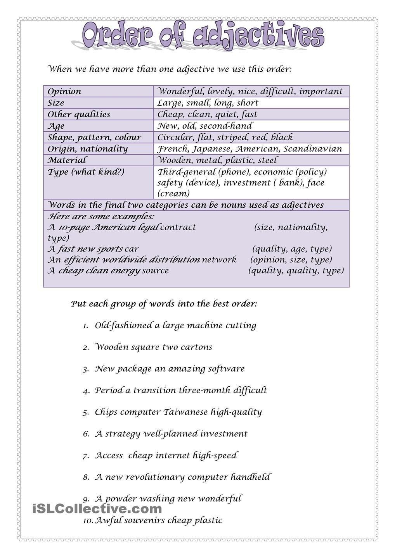 Order of adjectives 2 order of adjectives adjectives