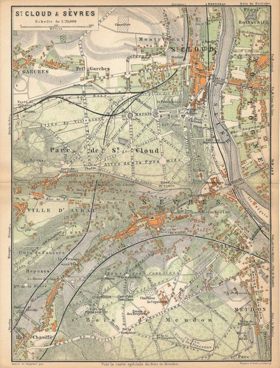 Antique Map Of Paris Neighborhoods St Cloud And Sevres France - Modern map of paris