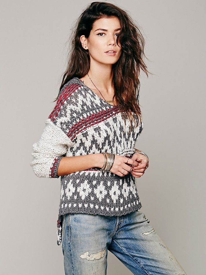 Free People Fairisle Hooded Pullover, $148.00 | ideas for me ...