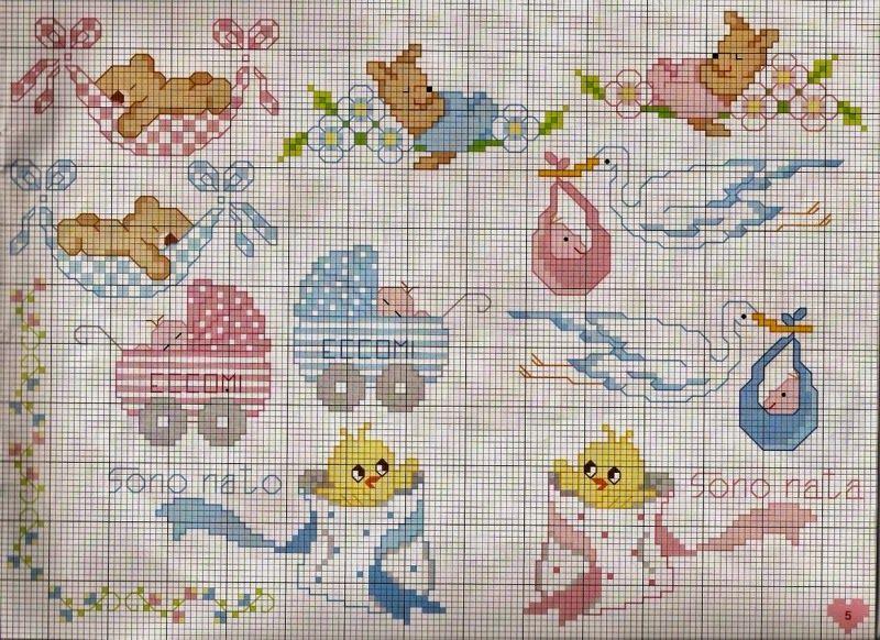 Ricami e schemi a punto croce gratuiti free patterns for Idee punto croce neonati