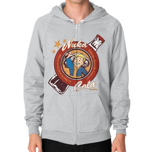 Drink Nuka Cola! Zip Hoodie (on man)