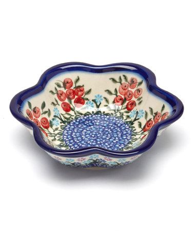 Red Poppies Large Flower Bowl  by Lidia's Polish Pottery