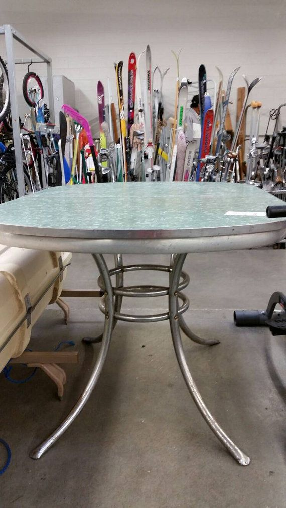 1950s Oval Formica Table With Turquoise Green Top With Chrome Pedestal Legs Formica Formica Table Chrome