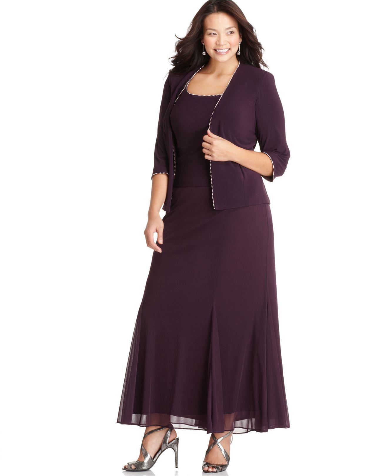 Alex Evenings Plus Size Dress And Jacket, Rhinestone Trim