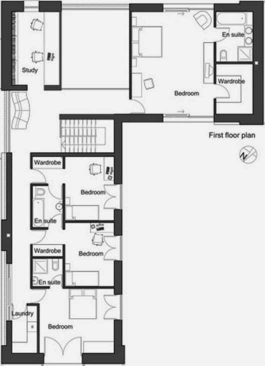 Plano De Casa De 4 Dormitorios 2 Plantas Y Revestimiento En Piedra - Planos-de-casas-en-l