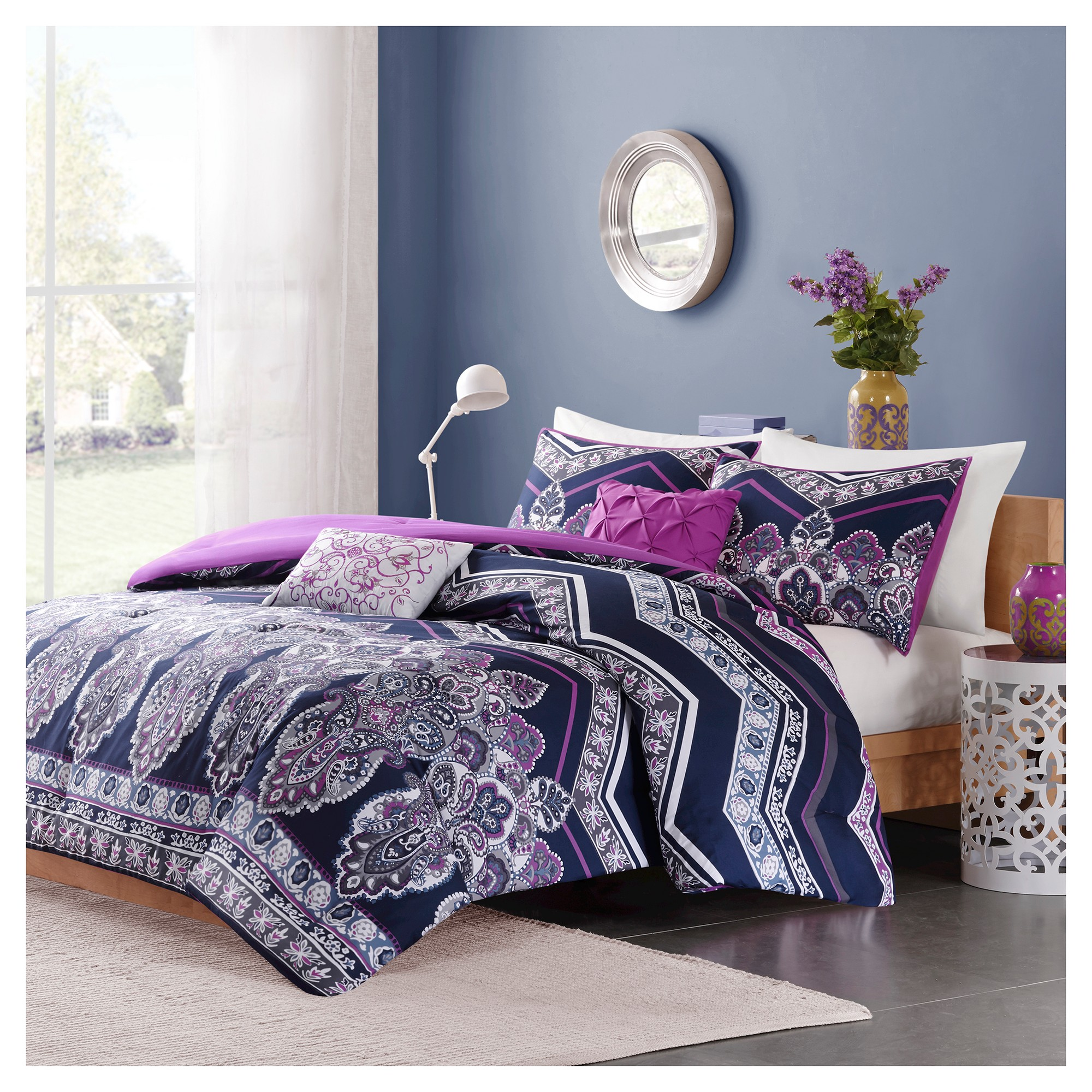 Blakely Comforter Set Twin Twin Extra Long 4pc Purple