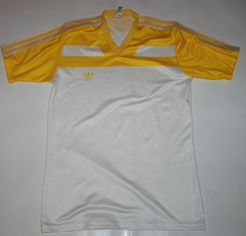 80s Vintage Adidas T Shirt Jersey Top White Yellow V Neck L Made West Germany Vintage Adidas Tops Jersey Top