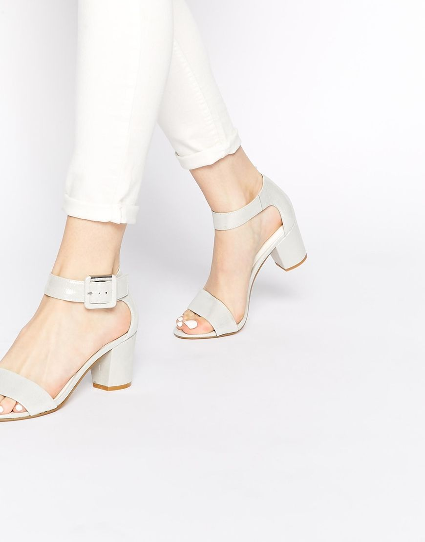 Dune Joye Silver Leather Mid Heel Sandals At Asos Com Sandals Heels Heels Mid Heel Sandals