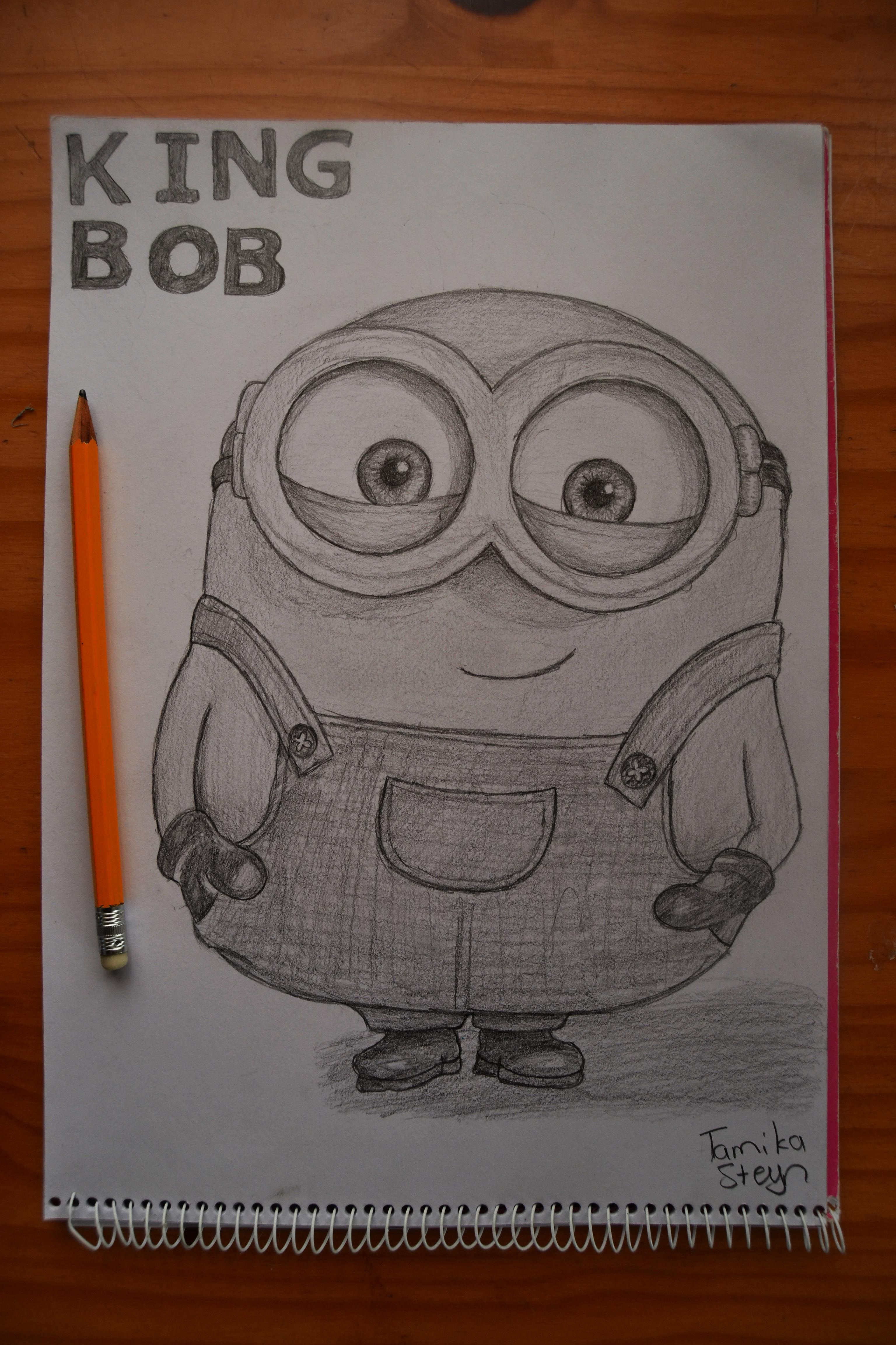 Minions Drawing, Pencil, Sketch, Colorful, Realistic Art ...  Easy Minion Pencil Drawings