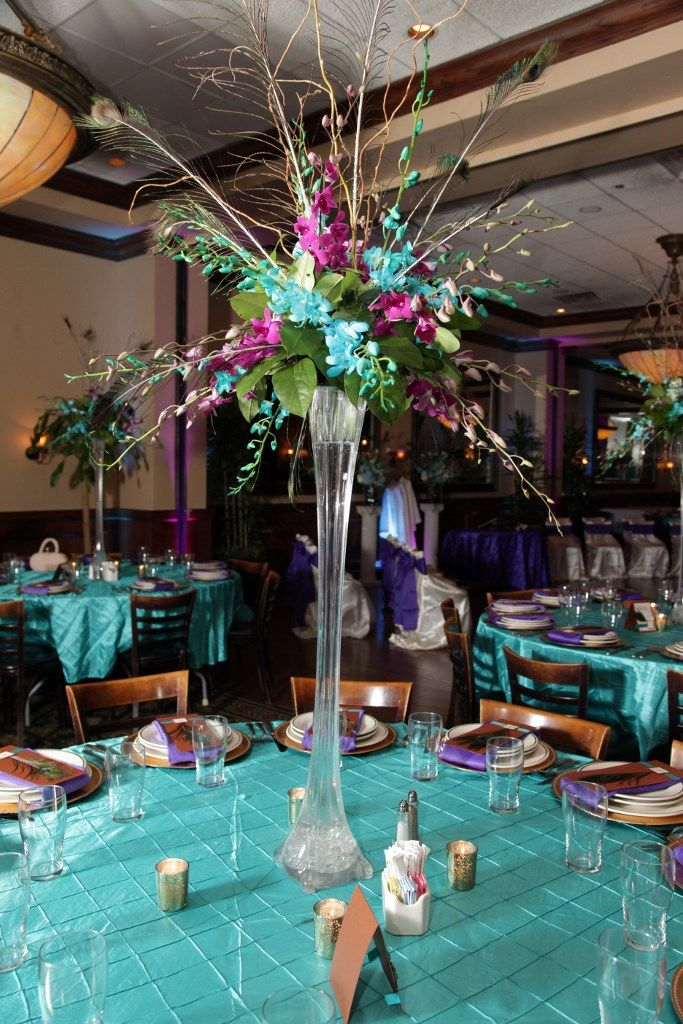Peacock Wedding Centerpiece Eiffel Tower Vase With Orchids