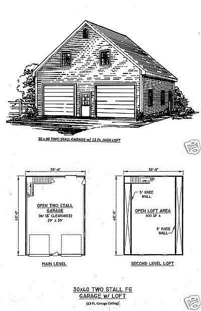 Building Plans And Blueprints 42130 30 X 40 2 Stall Fg 13 Ft Ceiling Garage Building Blueprint Plans Full Loft Buy Building Plans Blueprints How To Plan