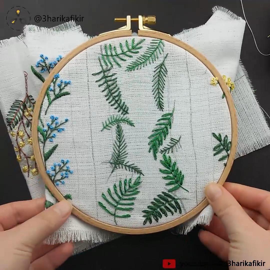 Embroidery Tropical Leafs – Embroidery for Beginner – Kanaviçe  – Handarbeiten