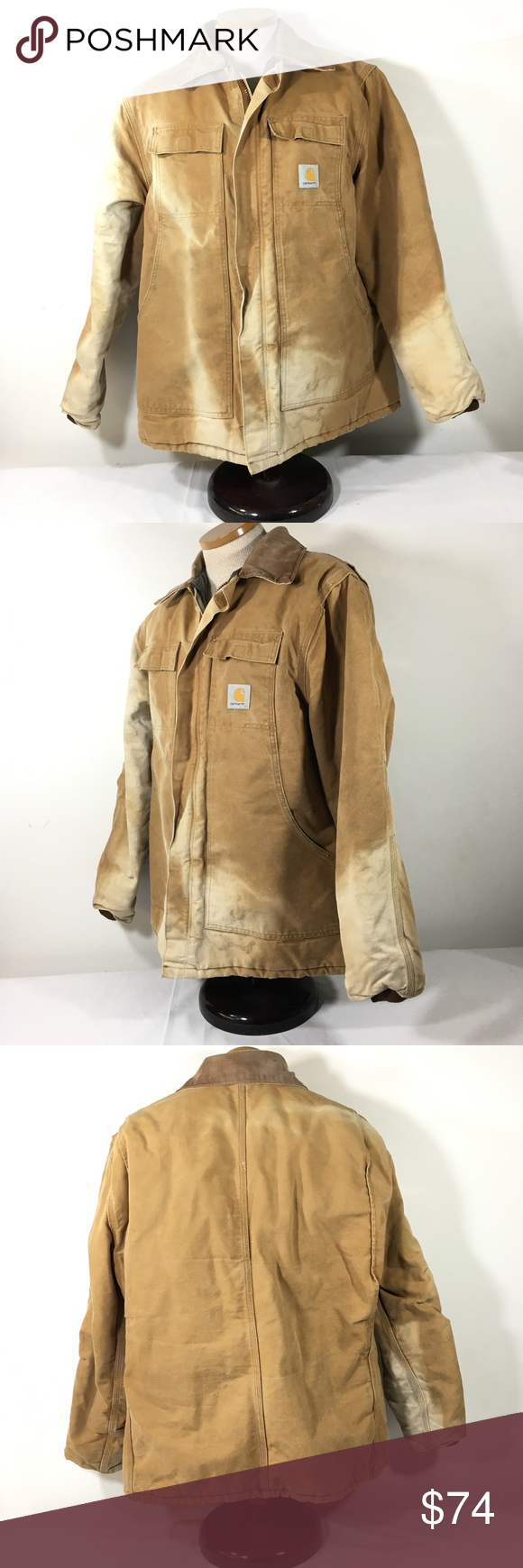 Carhartt Faded Work Coat Arctic Quilt Lined 46 Usa Carhartt