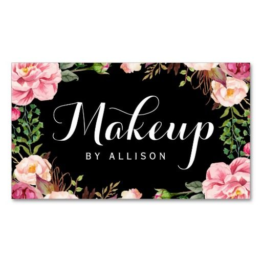 Makeup artist modern script girly floral wrapping business card makeup artist modern script girly floral wrapping double sided standard business cards pack of 100 reheart Image collections