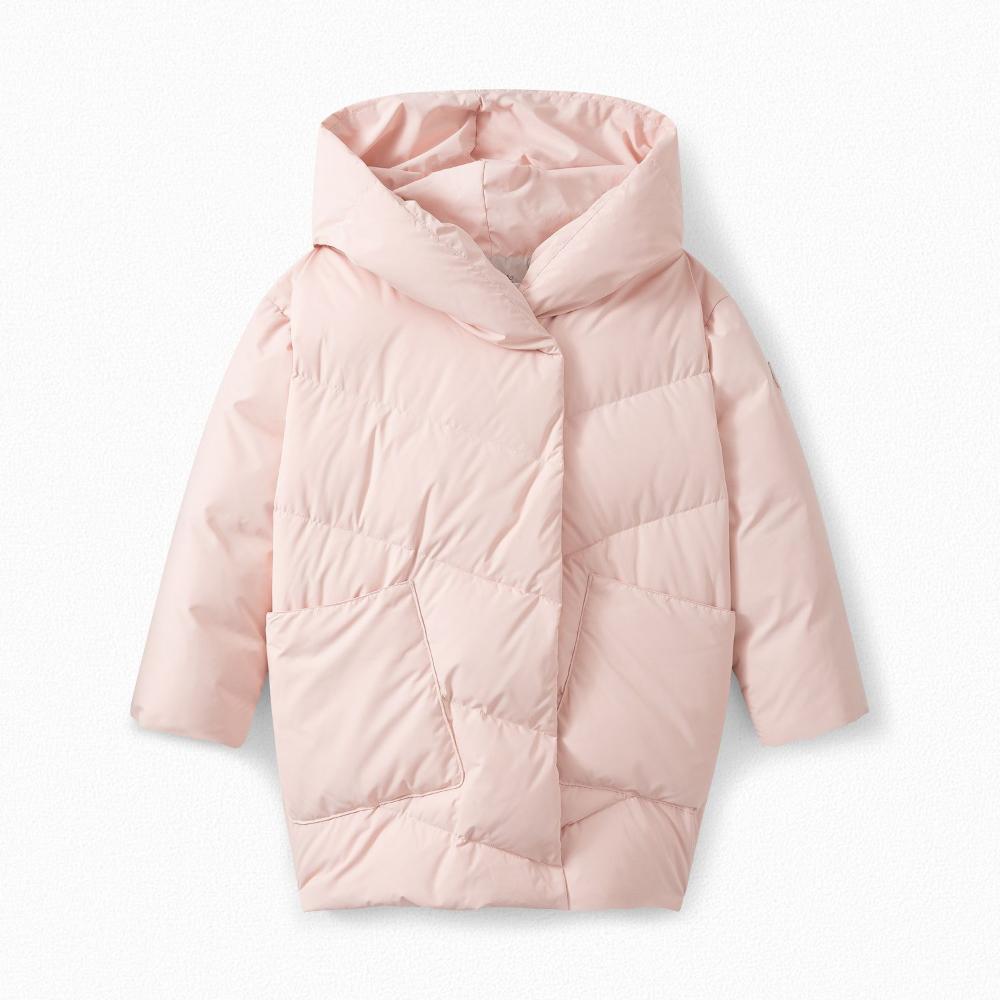 Girls Longline Hooded Puffer Jacket Pale Pink Down Jacket Jackets Girls Jacket [ 1000 x 1000 Pixel ]