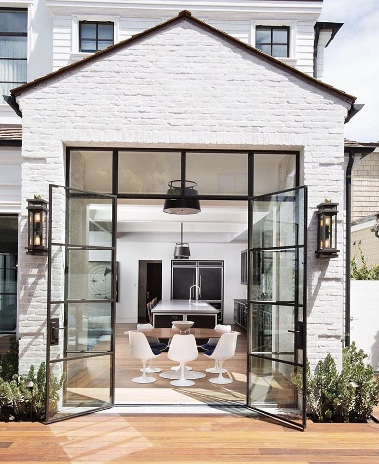 Painted Brick And Black Window Door Frame