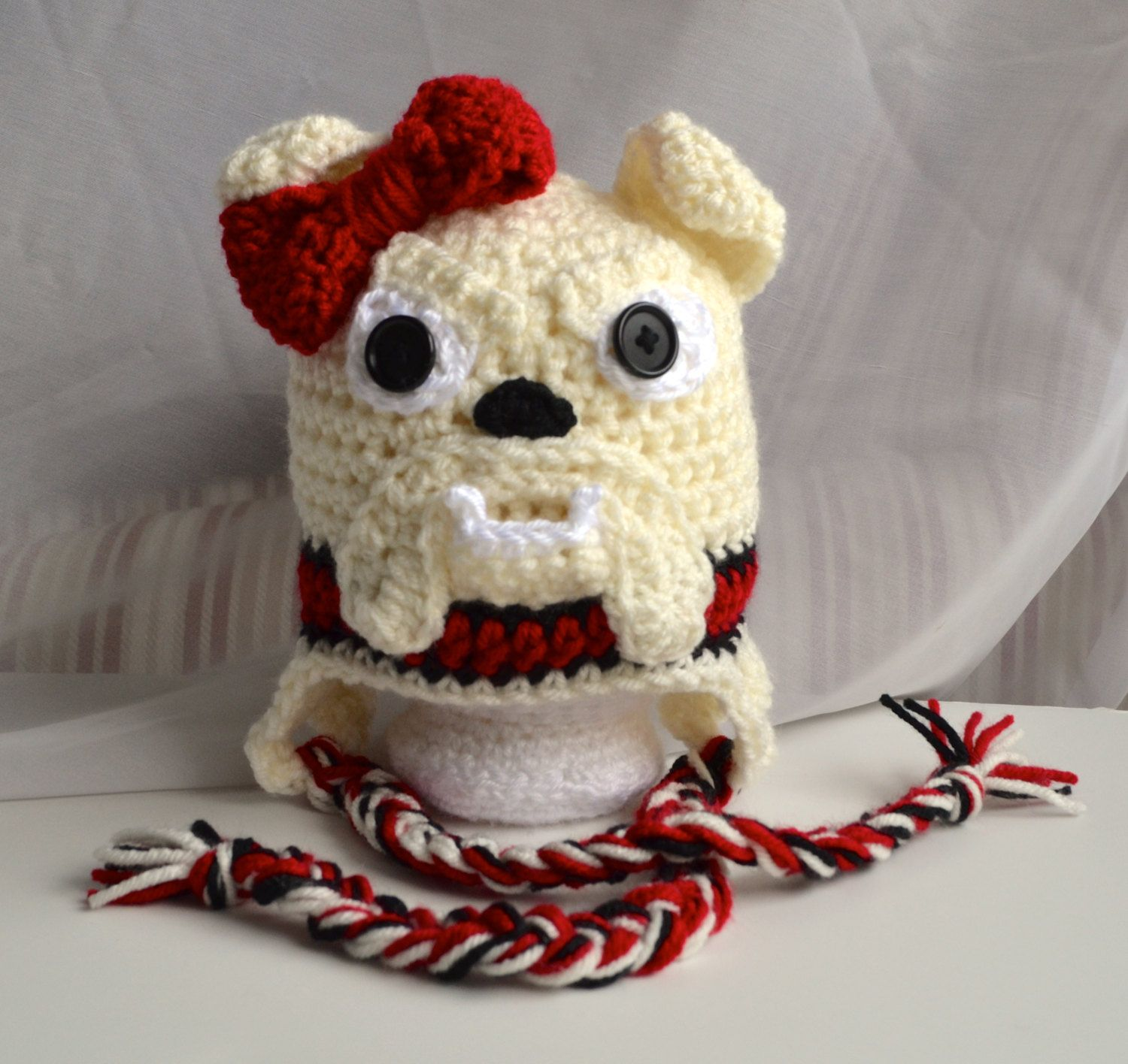8f2f297caa4 Crochet Georgia Bulldog Hat Girl s Georgia by TheGrapeTurtle