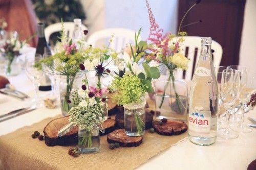 Deco mariage champetre bois - Centre de table rondin de bois ...