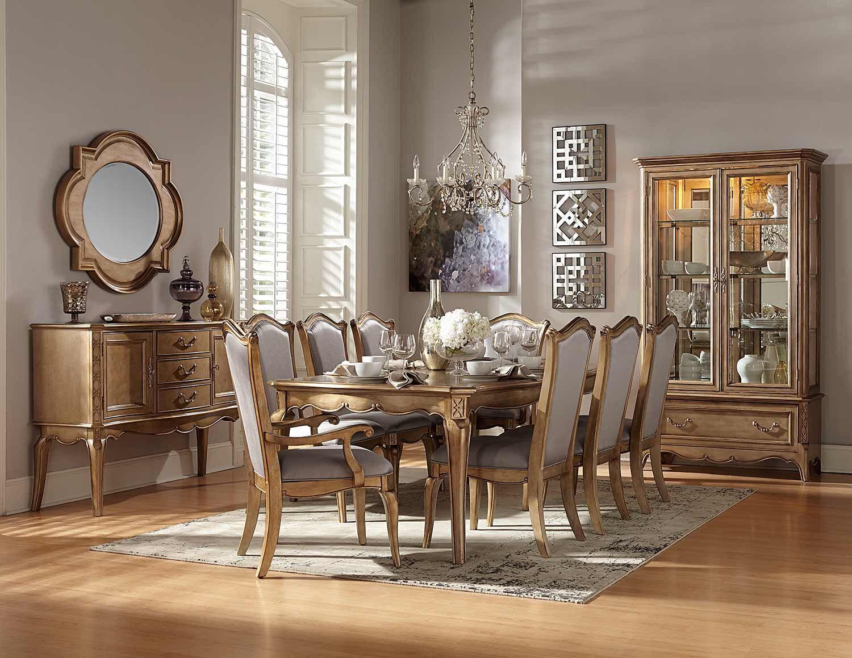 Homelegance Chambord Dining Set Antique Gold 1828 Dining Set Homelegancefurnitureonline C Formal Dining Room Sets Antique Dining Room Sets Dining Room Sets
