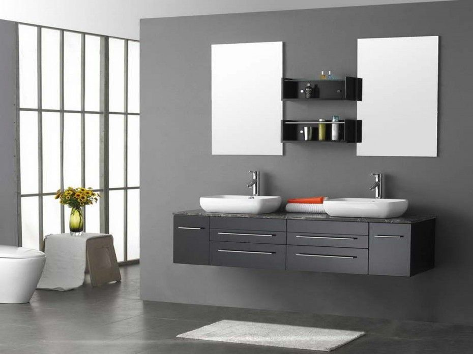 Bathroom Decorations. 18 Splendid Gray Bathroom Vanity Color Picture And  Design Ideas: Astounding Double Bowl Washbasin Floating Gray Bathroom Vanity  With ...