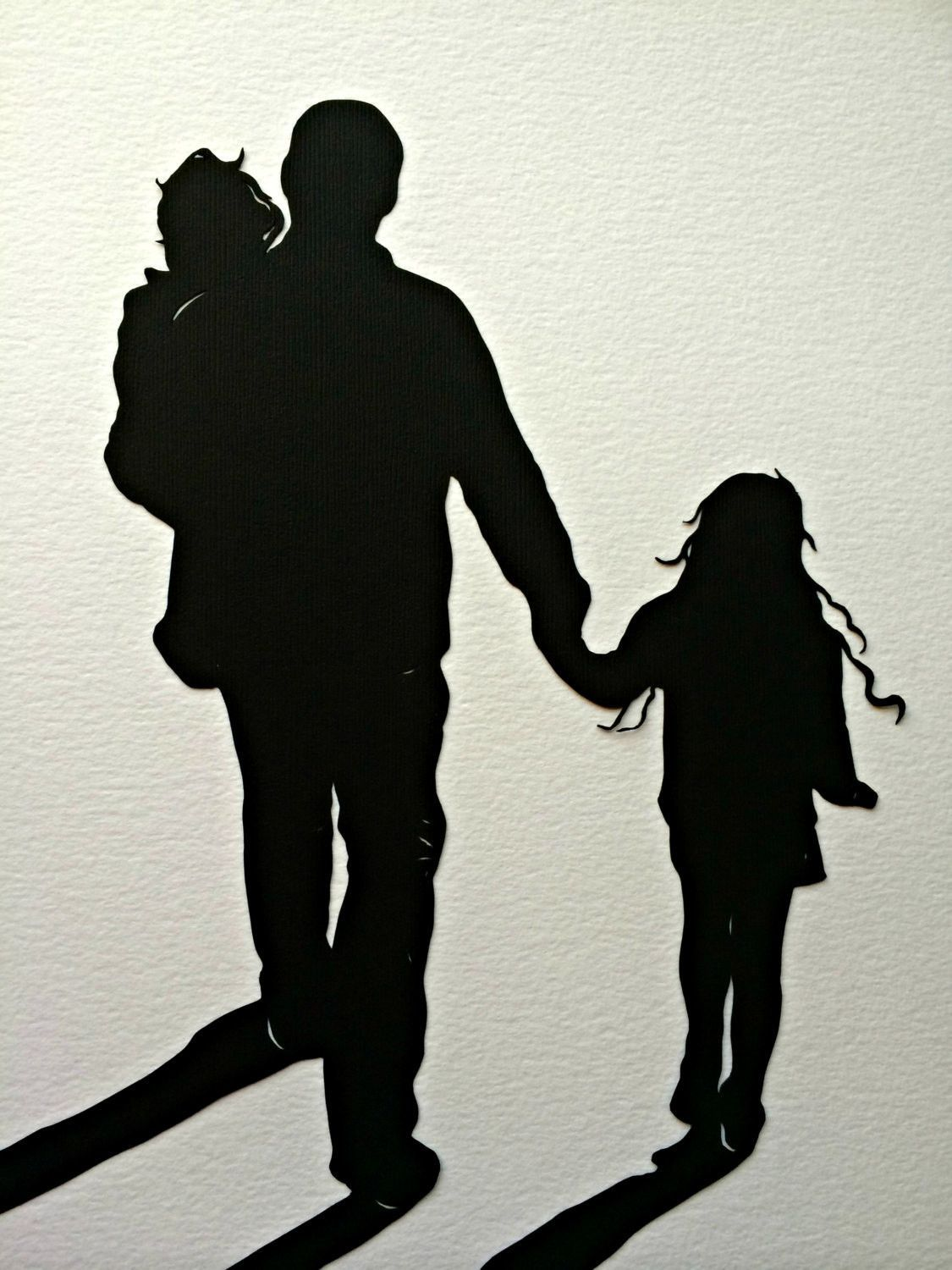 This Listing Is For A Kids Portrait Black Silhouette With White Accents Cut From Single Sheet Of Pa