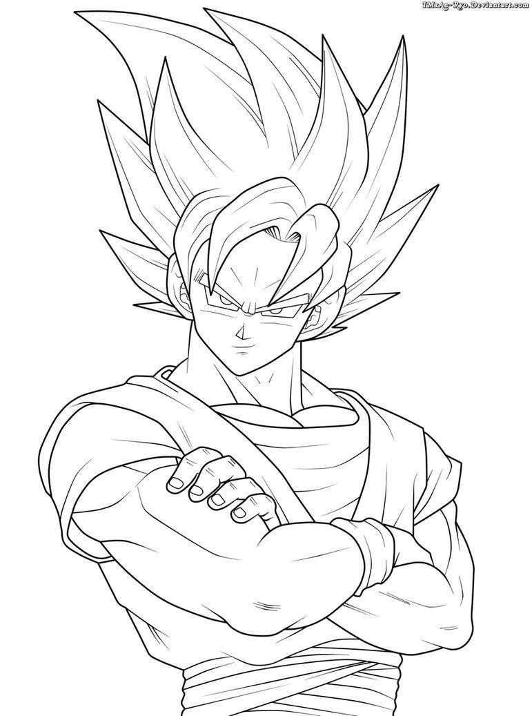 Goku Ssj2 Lineart By Imran Ryo Szkice