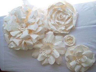 Handmade white paper flowers paper flowers pinterest white huge white paper flowers to surround plant shelf tree mightylinksfo