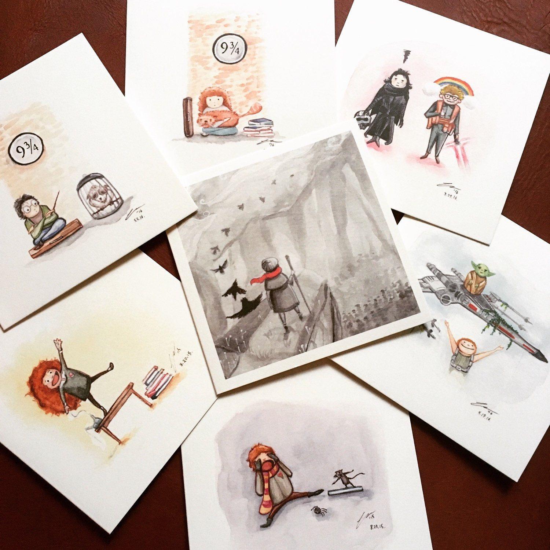 Adventurer 17 2017 Blank Greeting Card Original Ink Painting