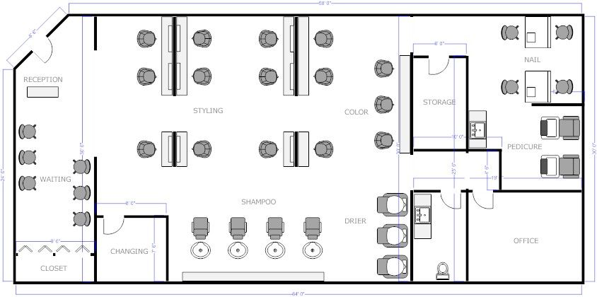 Salon Floor Plan 2 (With images) | How to plan, Salons ...