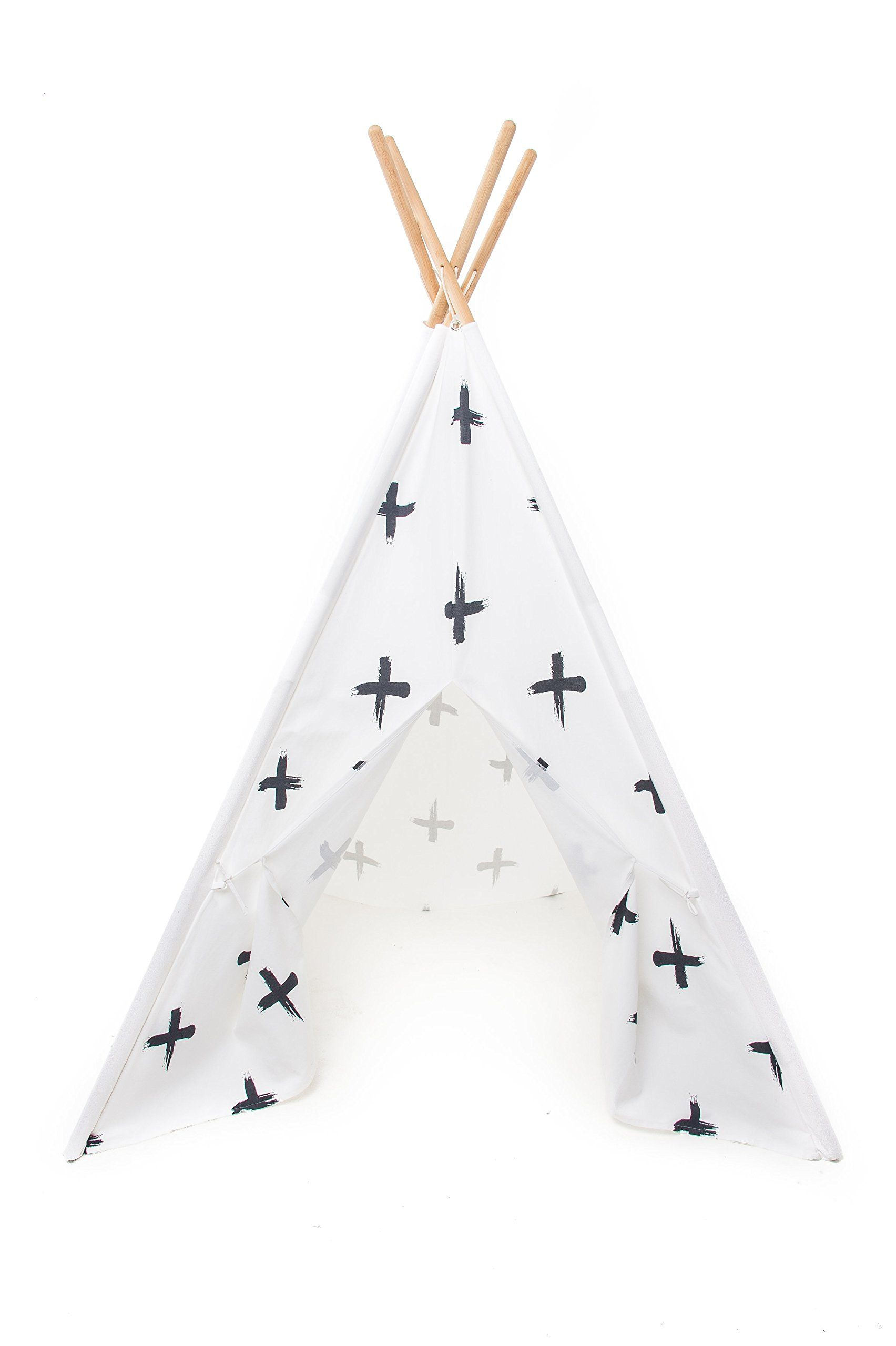 Play Teepee For Kids 100% Cotton Canvas And Bamboo Poles