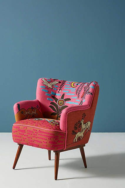 Anthropologie Imagined World Accent Chair | Abstract Print Chair | Living  Room Decor | Pink Armchair | Bright Colorful Furniture | #affiliate | House  Decor ...
