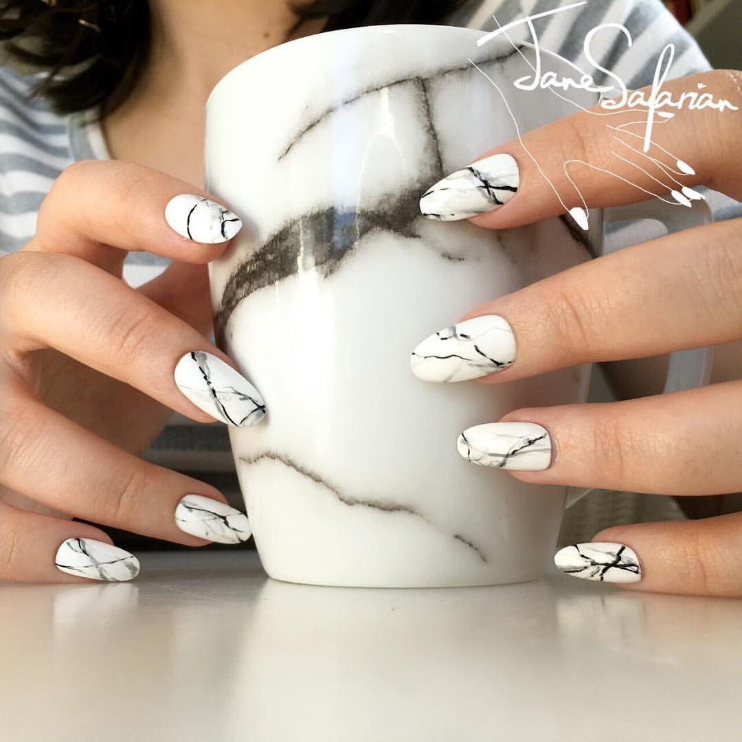 Jane Safarian Nail Art Jsfrn Nailart Matching White Marble Fake Nails Www Janesafarian