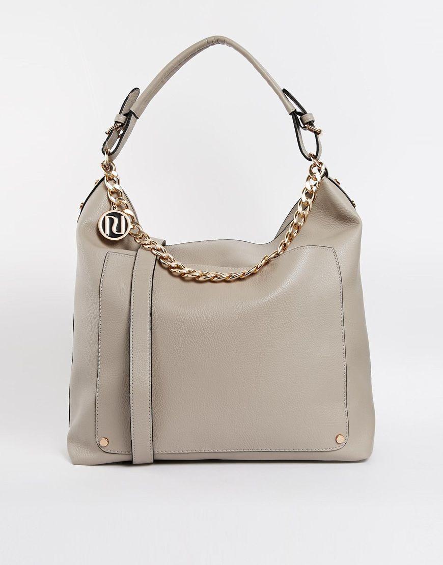 River Island Grey Large Chain Detail Slouch Shoulder Bag | Fashion ...