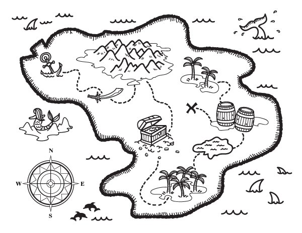 Canny image with free printable treasure map