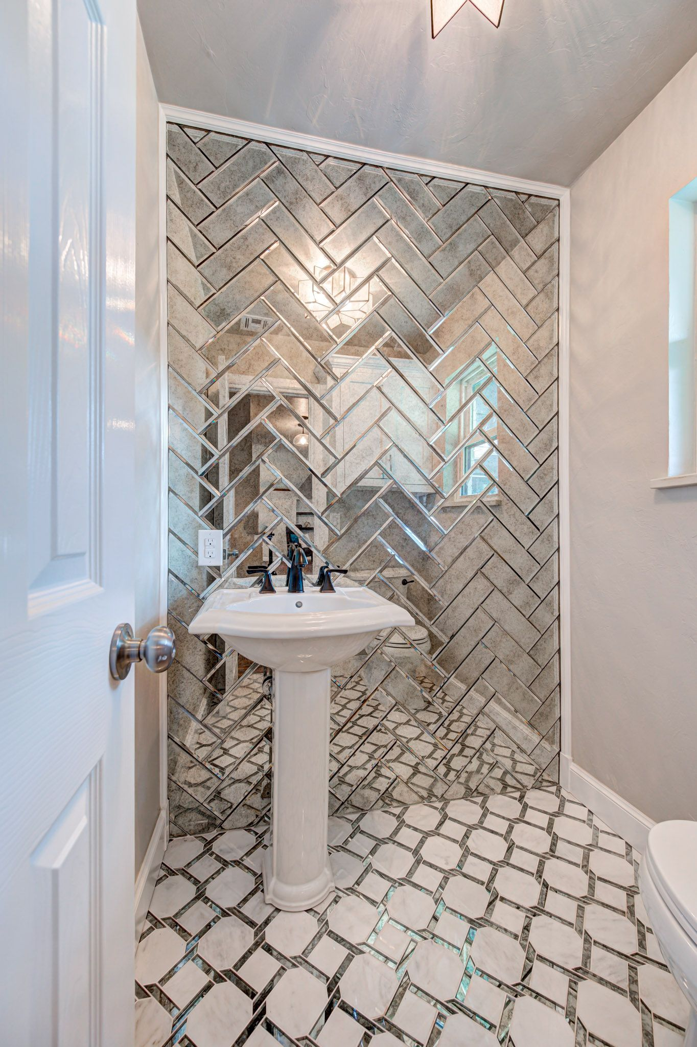 Silver Mirror Glass Subway Tile Herringbone Layout In 2020 Bathroom Accent Wall Tile Accent Wall Bathroom Mirror Wall Tiles