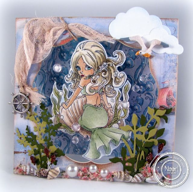 Mermaid card made by Janet. Hobbyjanet.blogspot.nl