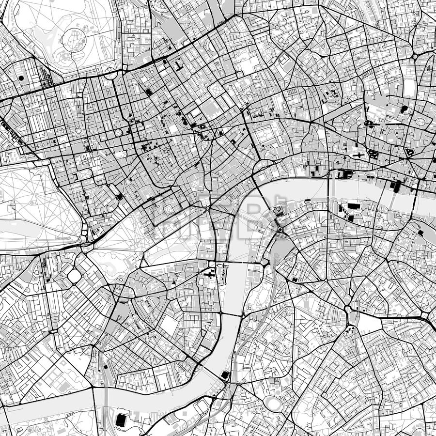 Downtown vector map of London City vector Infographic and