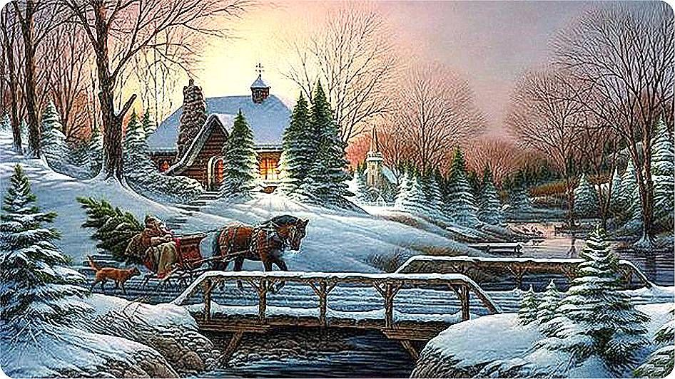 Новогодние открытки зимний пейзаж