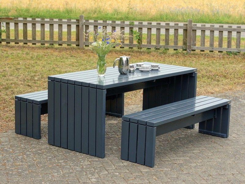 Gartenmöbel Set Gartentisch 1 Holz Farbe Anthrazit Grau