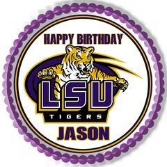LSU Louisiana State University Edible Birthday Cake Topper OR Cupcake Topper, Decor